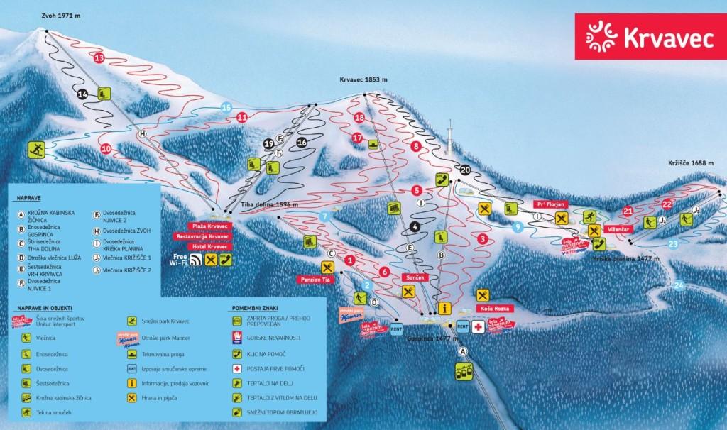Zemljevid Krvavec ZIMA 2014-2015